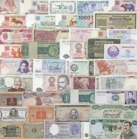 Collection of banknotes from all over the world, in total 125 pcs in varying condition incl. a few better