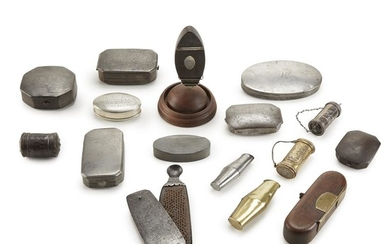 Collection of sixteen pewter, steel, brass, and iron tobacco...
