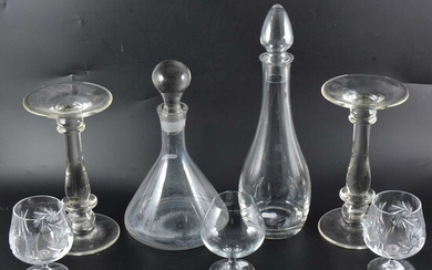 Crystal ship's decanter, another contemporary decanter, etc
