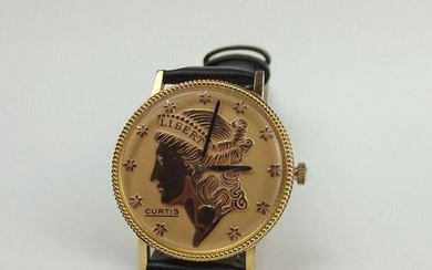 Curtis Gold Plated Liberty Coin Wrist Watch c1980's