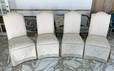DINING ROOM SIDE CHAIR W/ CREAM SLIP COVERS X4