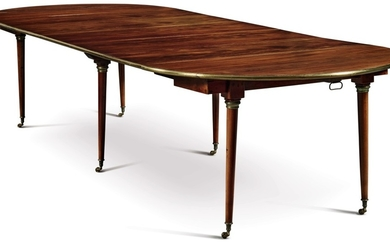 DIRECTOIRE BRASS-MOUNTED MAHOGANY OVAL DINING TABLE WITH LATER LEAVES, EARLY 19TH CENTURY