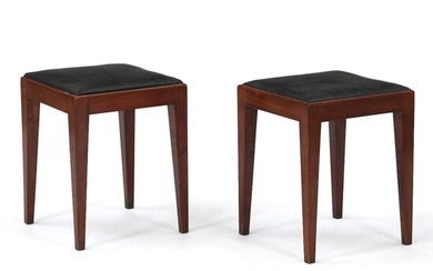 NOT SOLD. Danish cabinetmaker: A pair of stools of mahogany. Seat upholstered with black imititated...