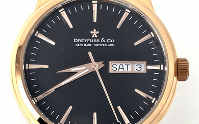 Dreyfuss & Co. - 1890 Black Dial Rose Gold Leather strap- DGS00129/04 - Men - BRAND NEW