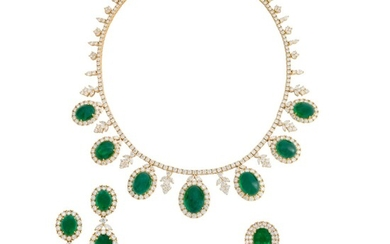 EMERALD AND DIAMOND NECKLACE, BRACELET, EARRING AND RING SUITE WITH GÜBELIN REPORT, MARCONI