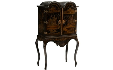 ENGLISH CHINOISERIE CABINET ON STAND