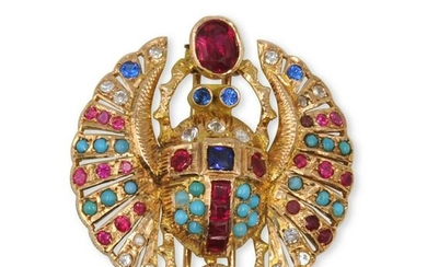 Egyptian Revival 18k Gold and Precious Stone Scarab