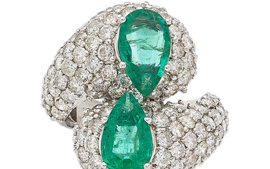 Emerald, Diamond, White Gold Ring The bypass ring features...