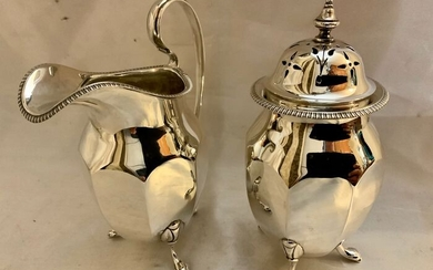 English sterling silver sugar caster and milk jug (2) - .925 silver - Ernest Druiff & Co - U.K. - 1922-1926