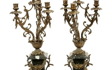 FRENCH BLACK MARBLE AND CAST METAL CANDELABRUM
