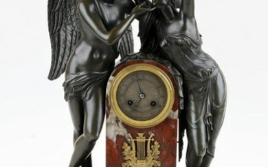 FRENCH EMPIRE STYLE FIGURAL BRONZE CLOCK