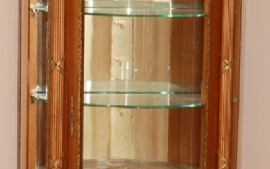 """FRENCH VERNI MARTIN STYLE HAND PAINTED AND GILDED CURIO CABINET H 55"""" W 27"""" D 14"""""""