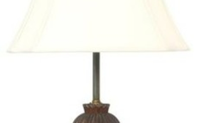 Figural Carved Walnut Table Lamp
