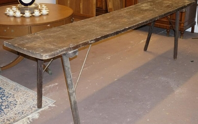 Fine Antique Southern Yellow Pine Slab Table