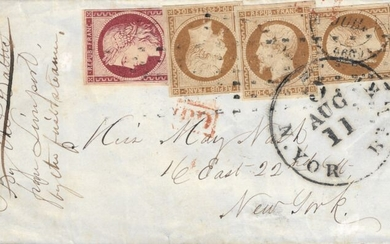 France 1852 - Exceptional Ceres, 1 franc carmine and Présidence 10 centimes bistre, 3 units, on letter bound for - Yvert 1 - 9