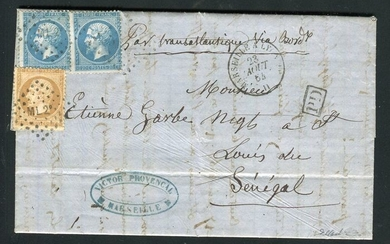 France 1864 - Rare letter from Marseille bound Saint Louis in Senegal, signed Calves