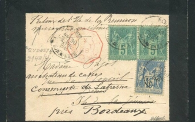 France 1888 - Rare letter from Paris bound for Reunion Island sent back to Bordeaux - Maritime Ligne T postmark