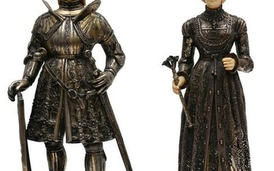 GERMAN SILVER MINIATURE KING AND QUEEN GROUPING