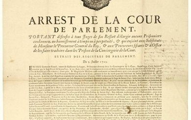 """GIRONDE. 1725. TAKES OF SAINTE FOY. Parliament of BORDEAUX. """"Order of the Court of Parliament forbidding all Judges within its jurisdiction to release any Prisoners sentenced to banishment for time or for life, &... to have them translated into the..."""