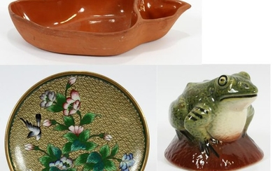 GLAZED POTTERY FROG, DISH AND CLOISONNE DISH