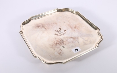 George V silver salver with piecrust edge, twelve point stag...
