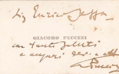 Giacomo Puccini Composer - Autograph; Personal Business Card with Greetings and Wishes - 1900/1915