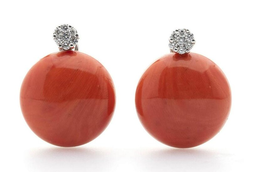 Gold, Cerasuolo coral and diamond earrings - Italy