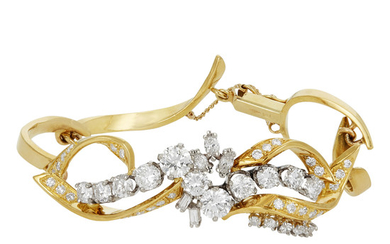 Gold and Diamond Bracelet and Pair of Day-Night Pendant Earrings