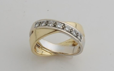 Gold ring, 750/000, with diamond. Wide double