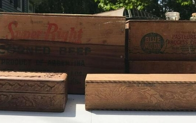 Group of 5 : Vintage Wood Advertising and Hand Carved
