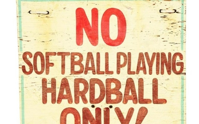 "HAND-PAINTED WOODEN PLAYGROUND SIGN ""NO SOFTBALL"