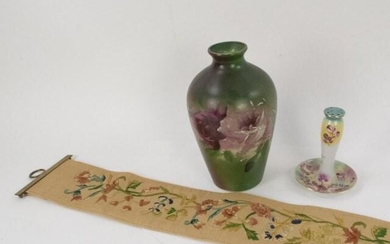 Hand Painted Hat Pin Holder & Vase, Bell Pull