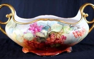Hand painted porcelain center bowl signed Vienna