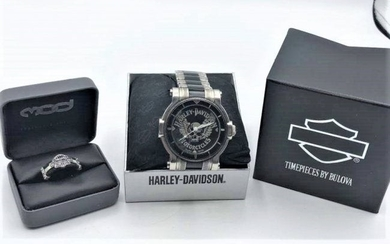 Harley Davidson Men's Wristwatch and Ring both in Boxes