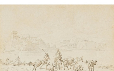 ITALIAN SCHOOL (LATE 17TH/EARLY 18TH CENTURY) PEASANTS TRANSPORTING THEIR ANIMALS ACROSS A RIVER