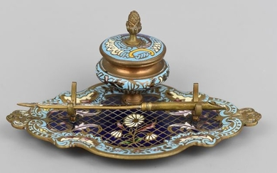 Inkwell and its champleve pen holder (2) - Napoleon III - Bronze cloisonné enamels - 19th century