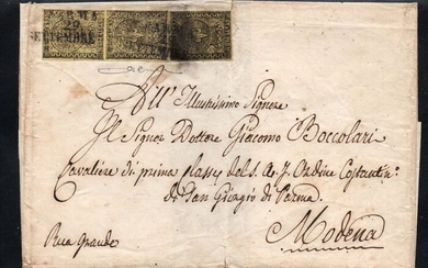 Italian Ancient States - Parma 1852 - 5 cents orange, vertical pair and single piece on letter from Parma to Modena - Sassone N. 1