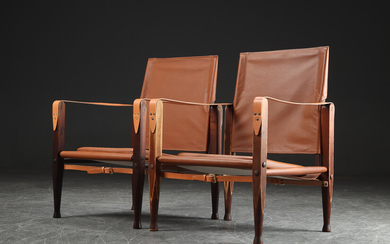 Kaare Klint. A pair of safari chairs in solid ash, cognac-coloured aniline leather (2)