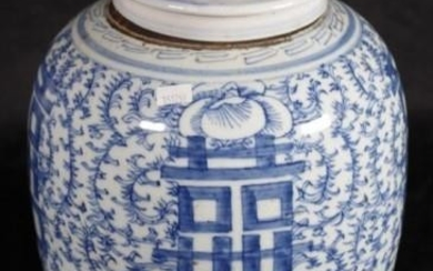 Large Chinese blue & white ginger jar decorated with longev...