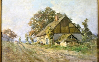 Leon.g. Lebon (1846- ?) - Painting, Landscape at the Thatched Cottage