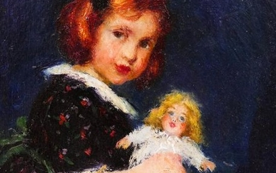 Louise Heustis (1865-1951 American) Little Girl with