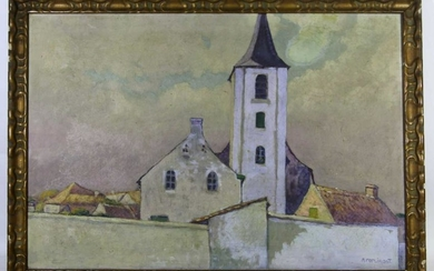 M POPLIMONT SIGNED ACHITECTURAL WORK ON CANVAS