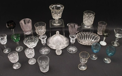 MISC. 23 PC. LOT OF CUT AND PRESS GLASS