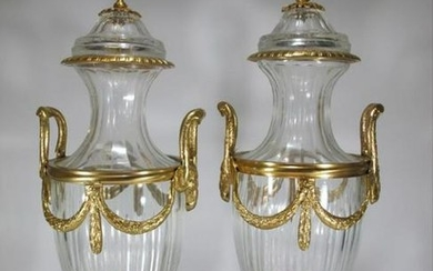 Marked Baccarat Pair Of Gilt Bronze & Glass Urns