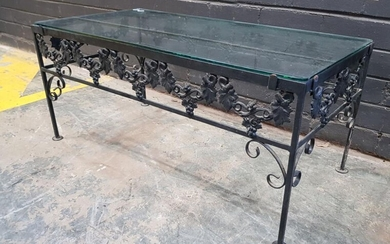 Metal Based Coffee Table with Glass Top (h:41 x w:91 x d:46)