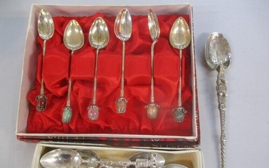 Mixed silver and white metal spoons to include an anointing ...