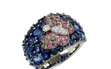 Multi Colored Gemstone & Diamond Butterfly Ring