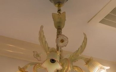 Murano Art Glass Opalescent Pink Floral Chandelier