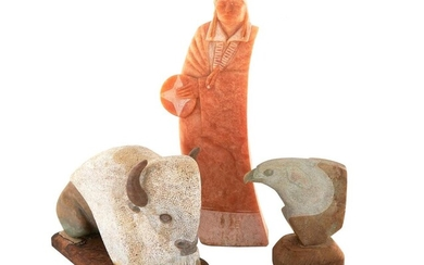Native American carved stone sculptures (3pcs)