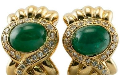 Natural Emerald Diamond Earrings by Lilli 18K Gold